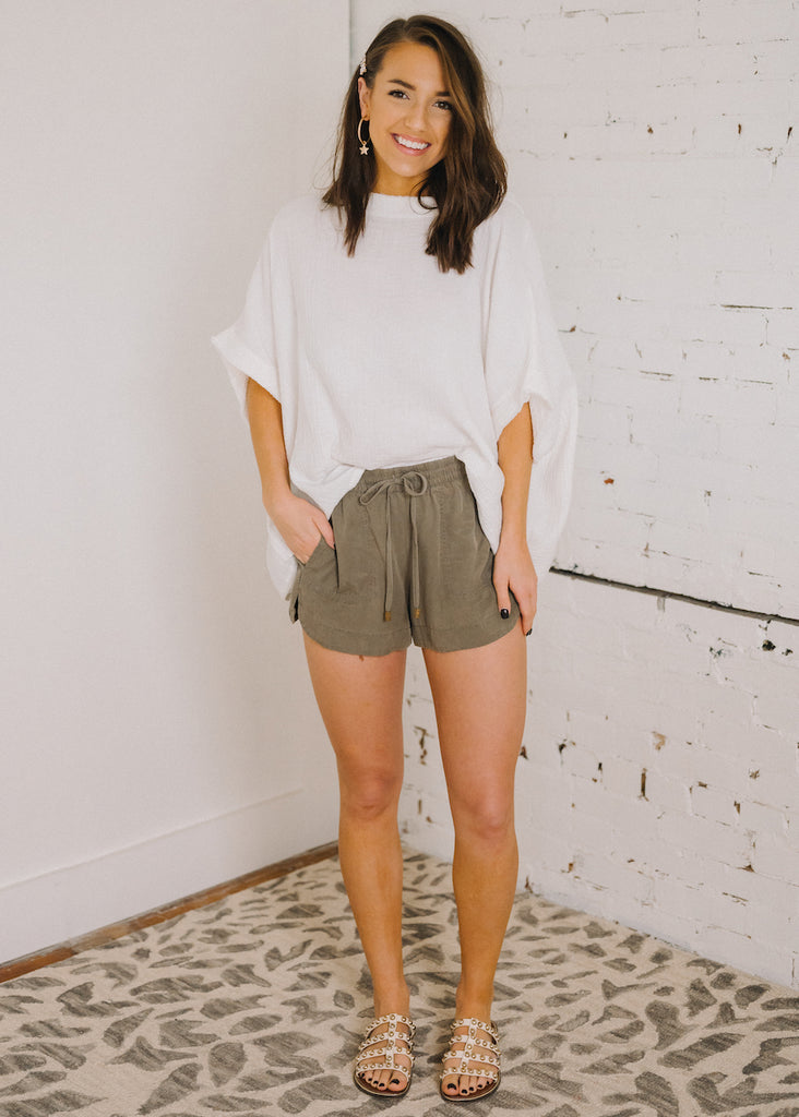 THINK TWICE ELASTIC WAISTBAND SHORTS