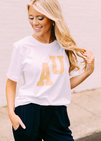 AU LETTERMAN TEE BY SCARLET & GOLD