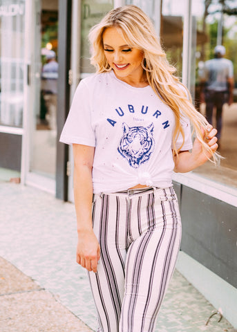 AUBURN TIGER HEAD DISTRESSED TEE BY SCARLET & GOLD