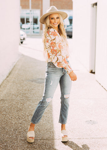 NEW YOU FLORAL RUFFLE TOP