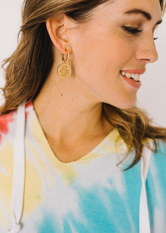 KEEP IT COOL COIN HOOP EARRINGS