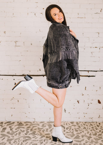 ON THE EDGE FRINGE DENIM JACKET