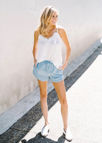 WHAT TO DO CHAMBRAY SHORTS