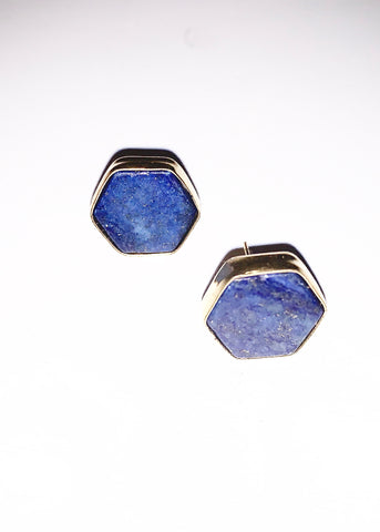 BLUE STONE GEOMETRIC STUD EARRINGS
