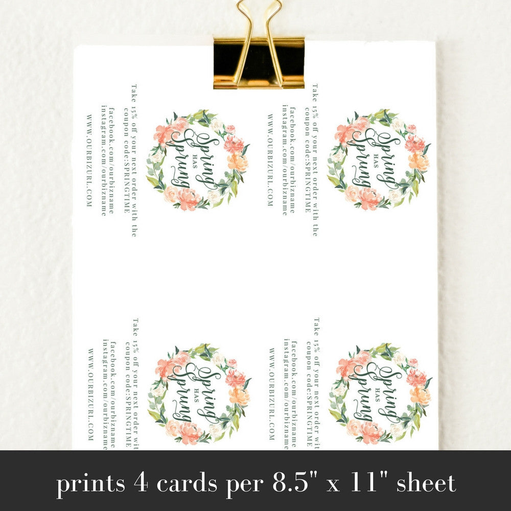 Printable Business Packaging Cards Template | Spring Has Sprung