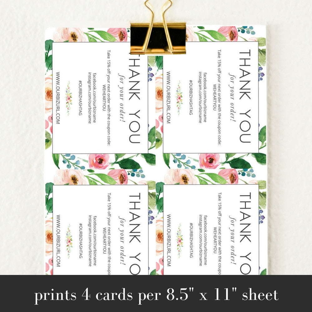 Printable Business Thank You Cards Template | Olive - Charm & Gumption