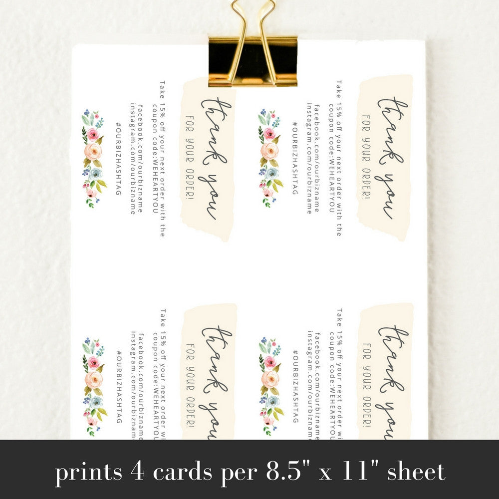 Printable Business Thank You Cards Template | Sophia