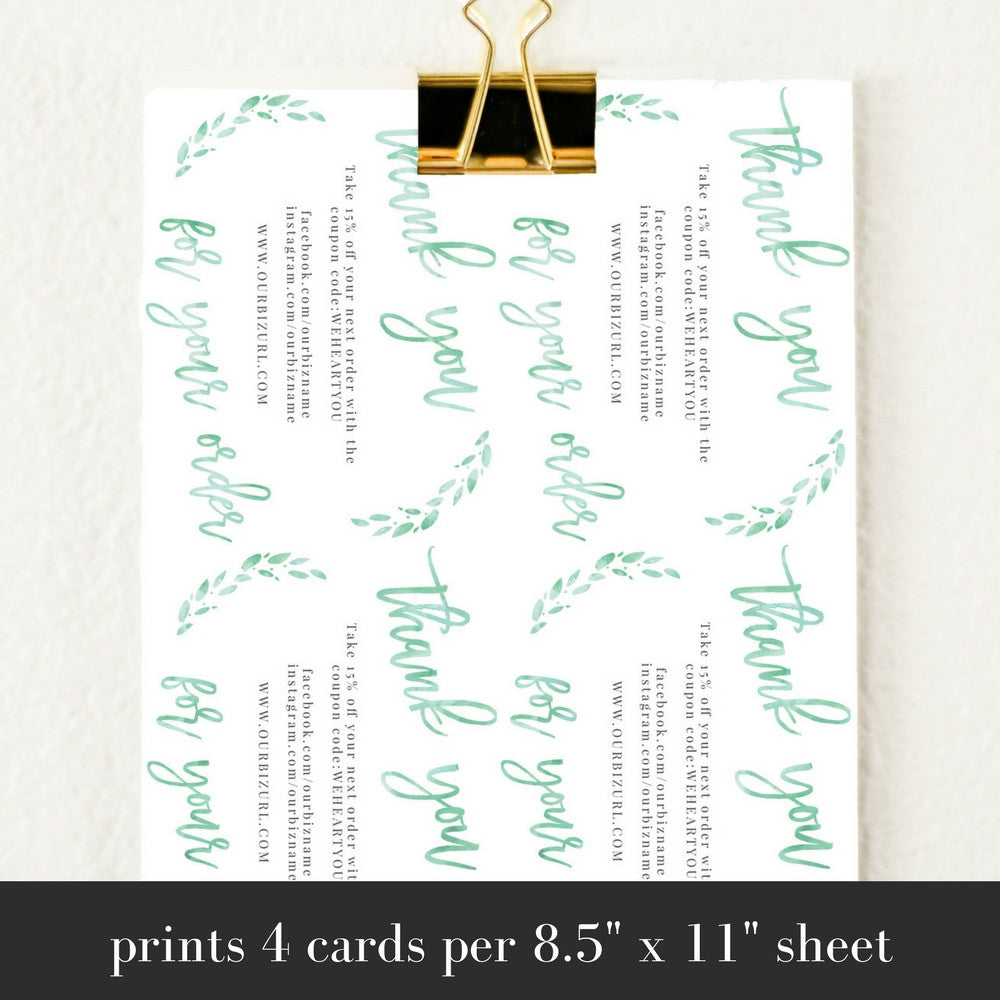 Printable Business Thank You Cards Template | Lola (Mint)