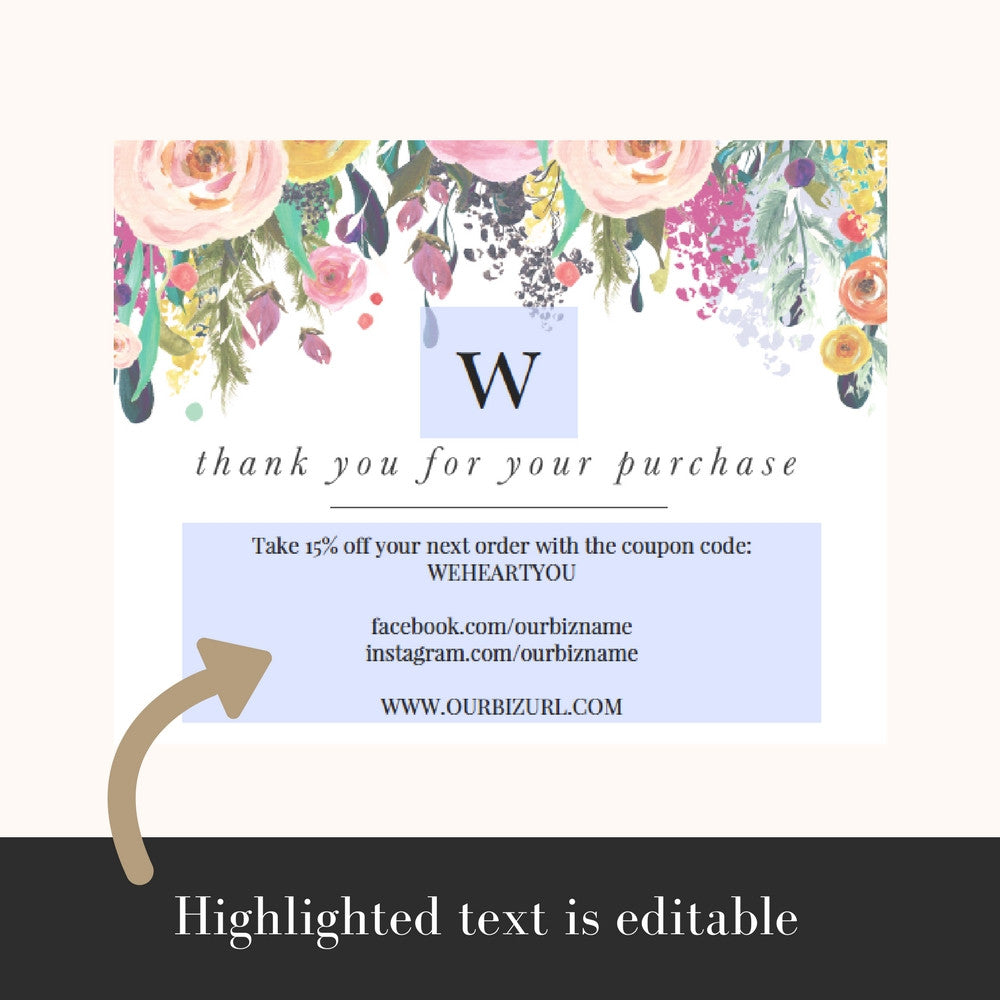 Printable Business Thank You Cards Template | Willow