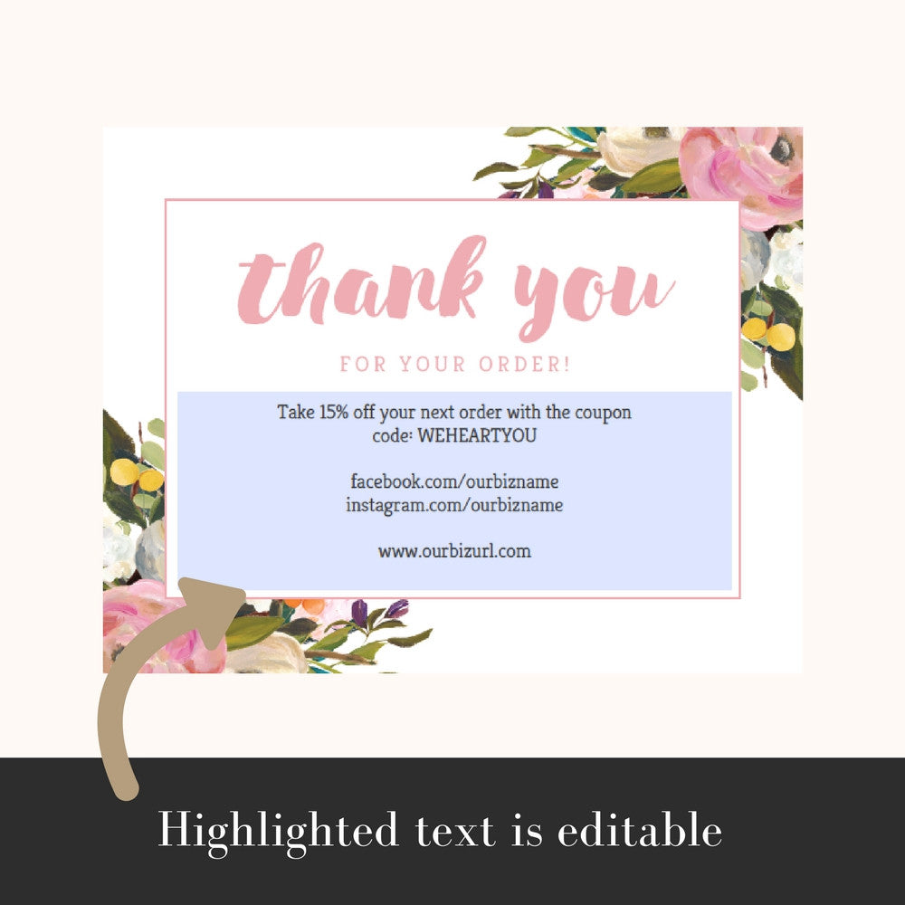 Printable Business Thank You Cards Template | Olivia
