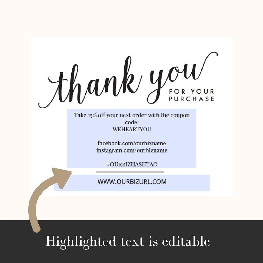 Printable Business Thank You Cards Template | Amelia