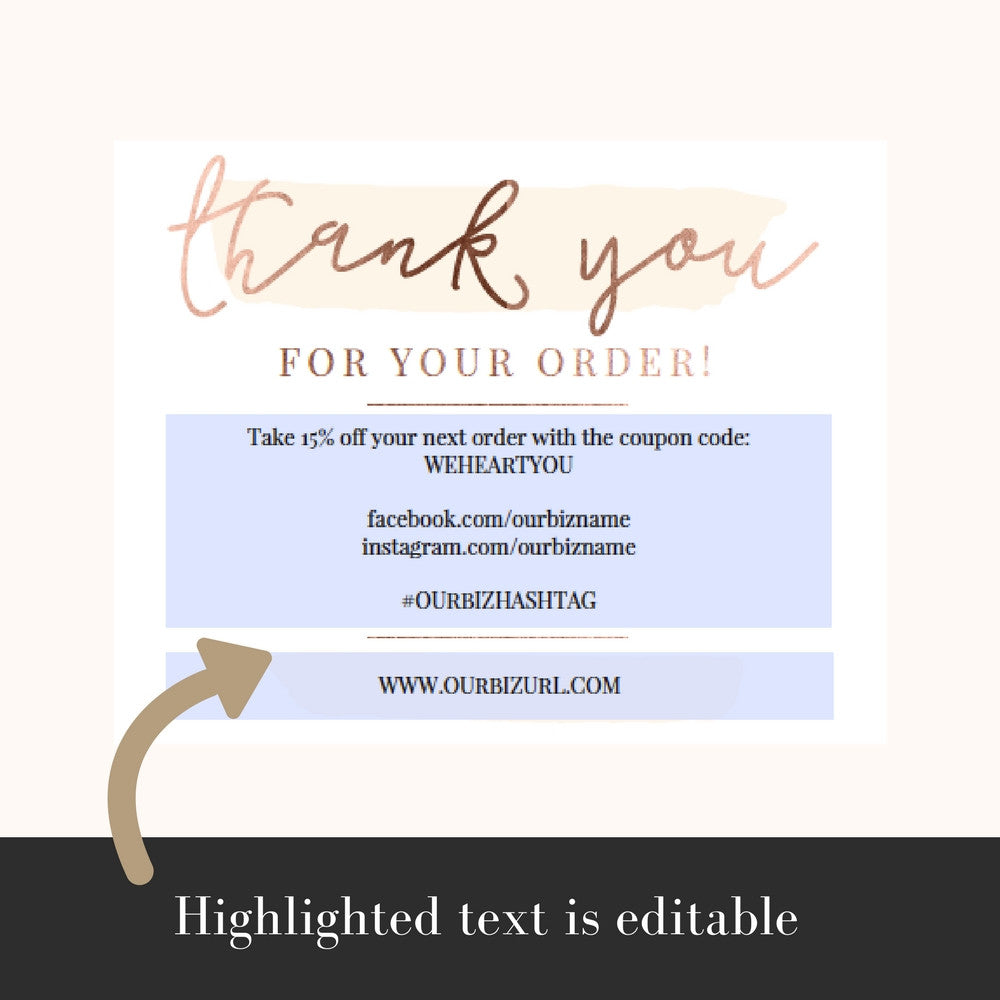 Printable Business Thank You Cards Template | Emma