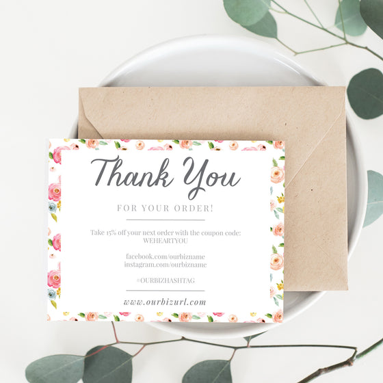 Printable Business Thank You Cards Template | Ava