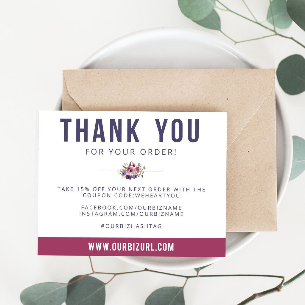 Printable Business Thank You Cards Template | Betty