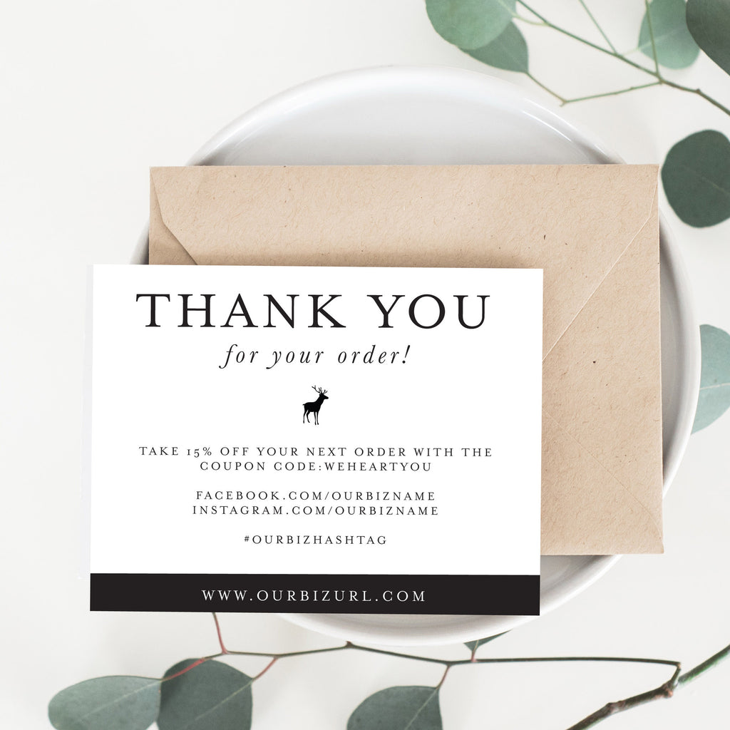 Printable Business Thank You Cards Template | Catherine