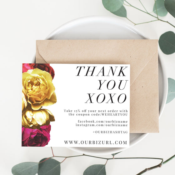 Printable Business Thank You Cards Template | Hannah