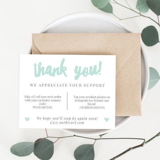 Printable Business Thank You Cards Template | Adelie