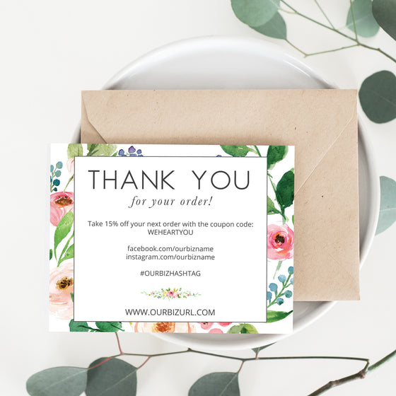 Printable Business Thank You Cards Template | Olive