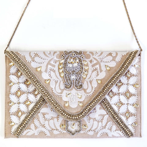 BW001: Ivory Envelope Clutch (Handmade, Evening Clutch, Bridal Party Gifts, Bridesmaid Gift, Wedding Gifts, Holiday Gifts)