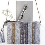 BW010: Stripe Tassel Clutch (Handmade, Evening Clutch, Bridal Party Gifts, Bridesmaid Gift, Wedding Gifts, Holiday Gifts)