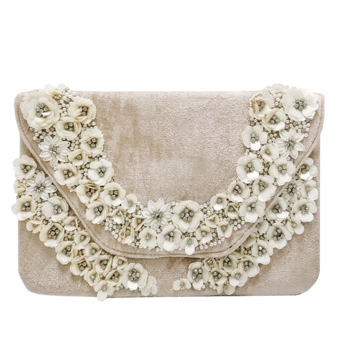 BW033: Flower Border Envelope Clutch, Champagne