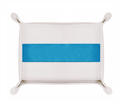 HA178: Rectangle Stripe Catch-All Tray, Aqua