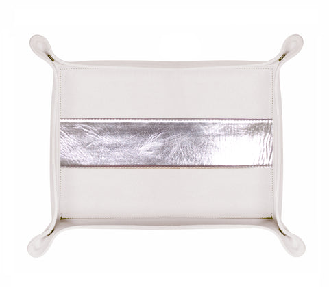 HA179: Rectangle Stripe Catch-All Tray, Metallic