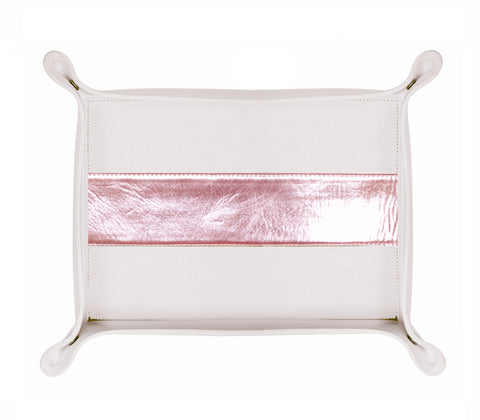 HA180: Rectangle Stripe Catch-All Tray, Rose Gold