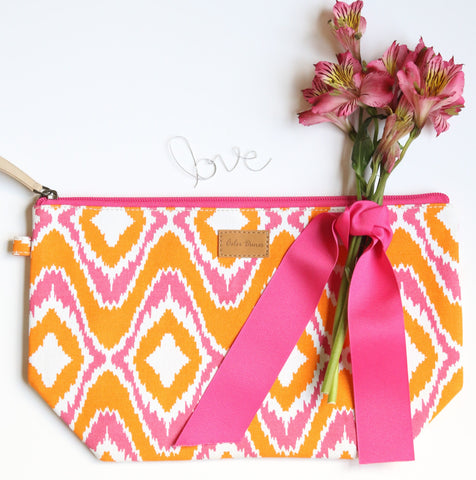 Travel Pouch, Ikat, Orange/ Pink
