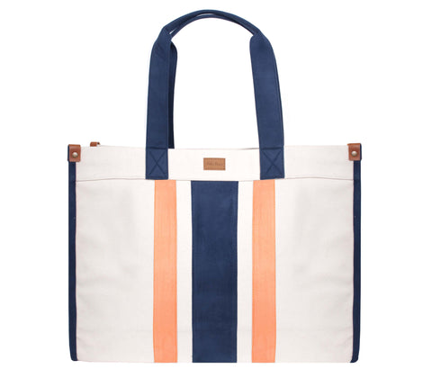 ST120: Ultimate Stripe Tote, Navy/ Orange