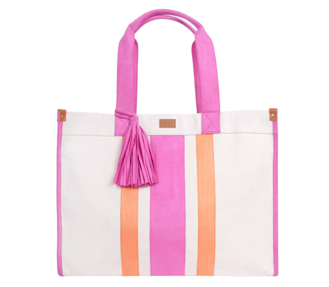 ST121: Ultimate Stripe Tote, Pink/ Orange