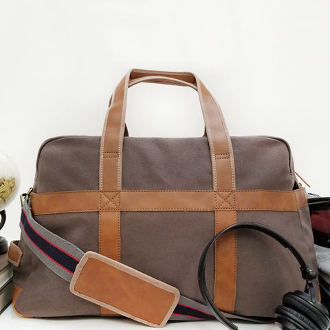ZT154: Discover Duffel, Gray (Weekend Bag, Carryon Handbag, Sturdy Canvas)
