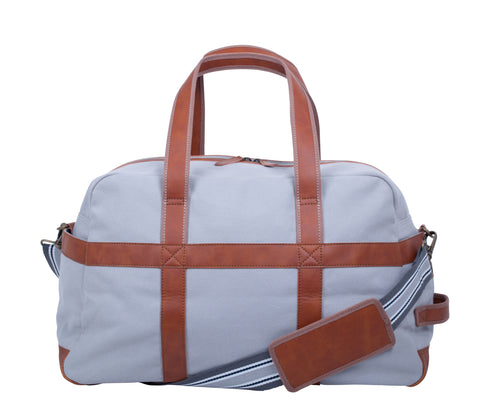 ZT155: Discover Duffel, Silver (Weekend Bag, Carryon Handbag, Sturdy Canvas)