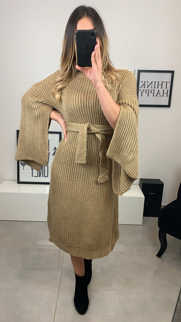 ROBE LENY MANCHE OUVERTE BEIGE