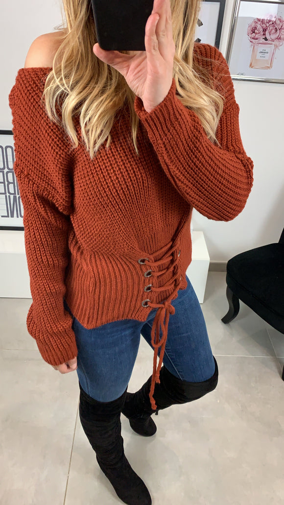 PULL COL ROND CALYS ROUILLE