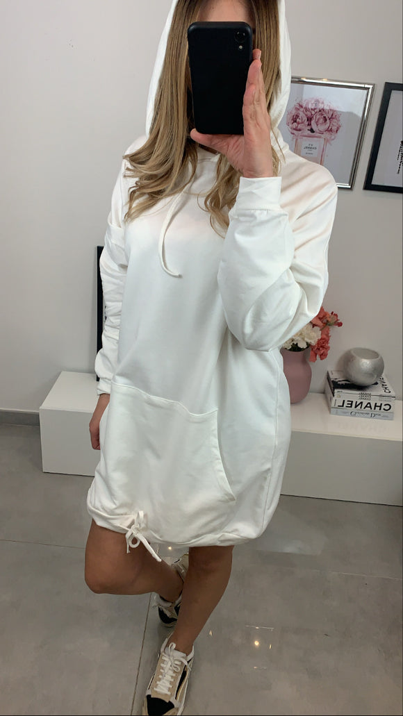 ROBE SWEAT JAYNA CAPUCHE BLANC