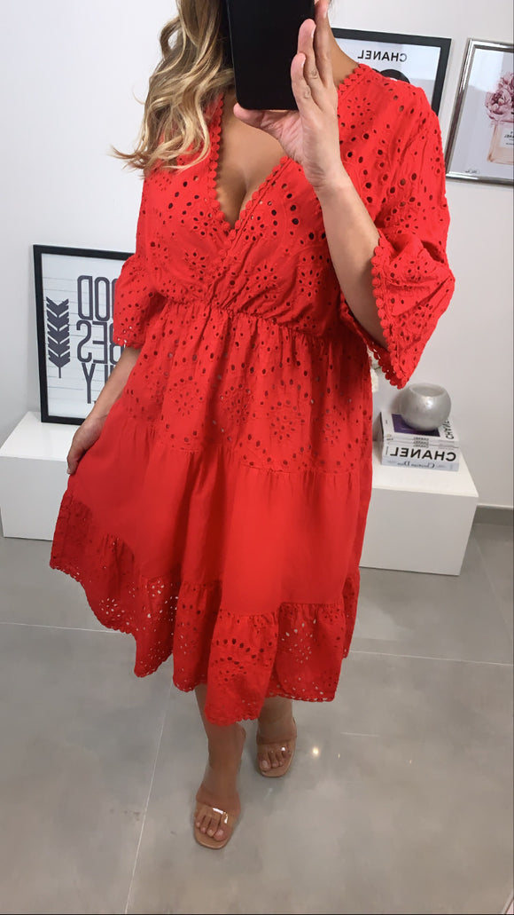 ROBE BRODÉ HALLY ROUGE