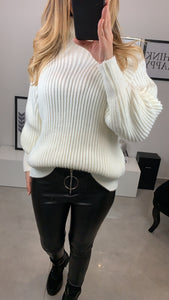 PULL KAYI COL MONTANT BLANC