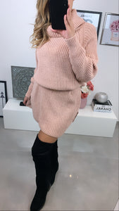 ROBE COL ROULÉ LOLY ROSE