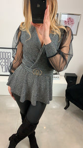 TOP NABA BOUCLE BRILLANT GRIS