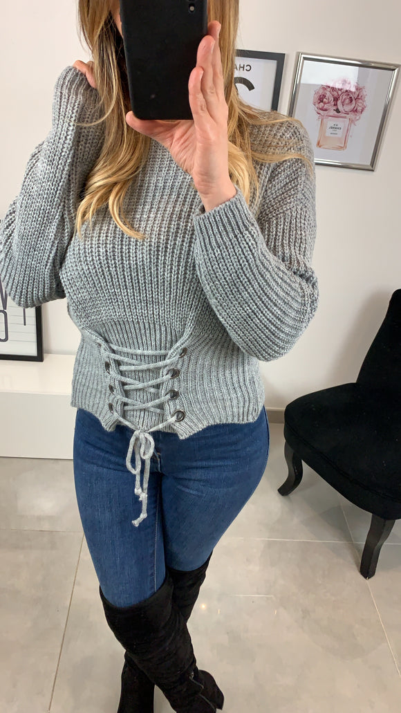 PULL COL ROND CALYS GRIS CLAIR