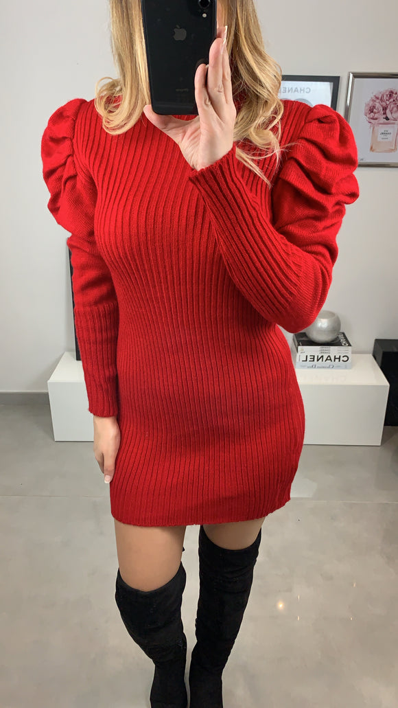 ROBE PULL SYNA COL ROULÉ EPAULE BOUFFANTE ROUGE