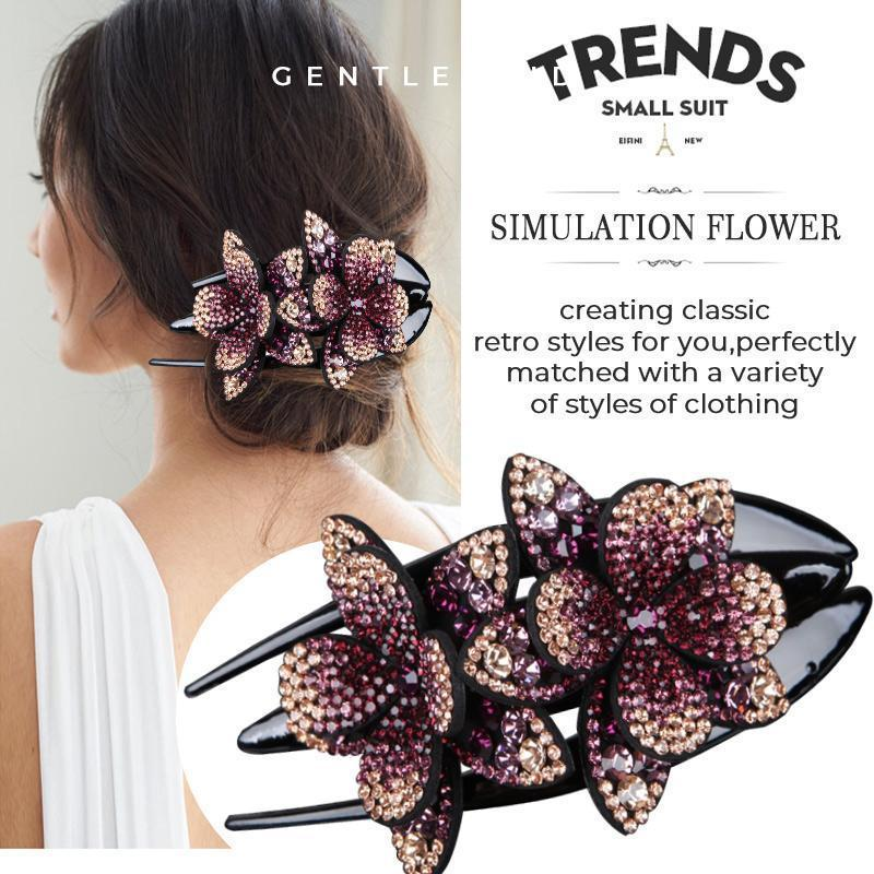 Rhinestone Double Flower Hair Clip(2PCS)
