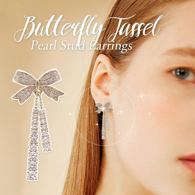 Butterfly Tassel Pearl Stud Earrings