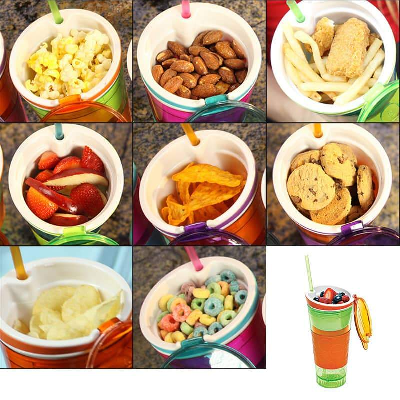 2 in 1 Snack & Drink Cup with Straw(Random Color)