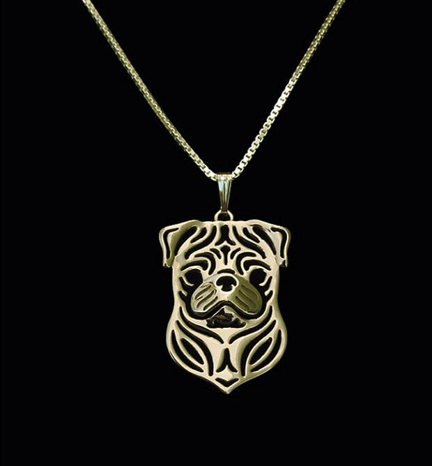 Gold & silver Pug Puppy Pendant Necklace