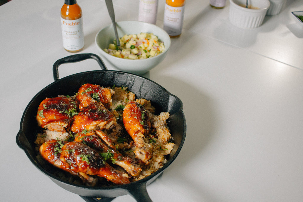 Receta: Spicy Glazed Chicken with coconut rice and pineapple salsa