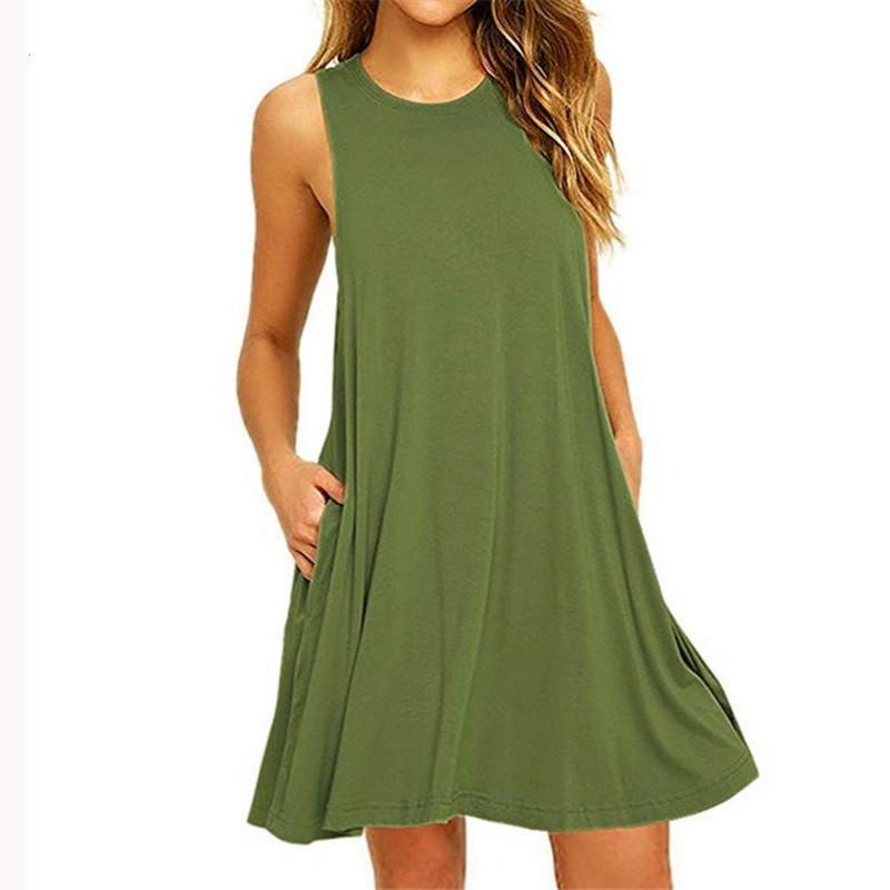 A-line Women Daily Sleeveless Cotton-blend Solid Summer Dress