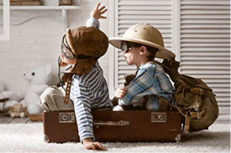 kids in suitcase