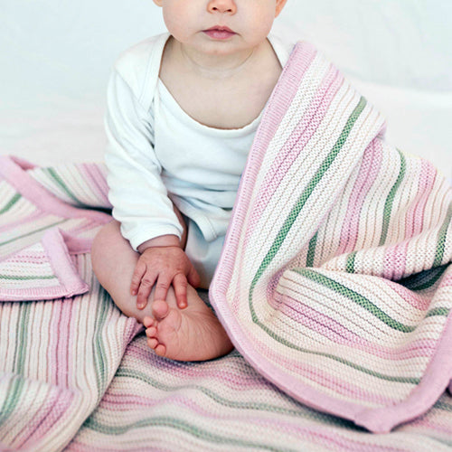 Branberry Striped Garter Knit Cot Blanket - Pink, Mint & Ivory